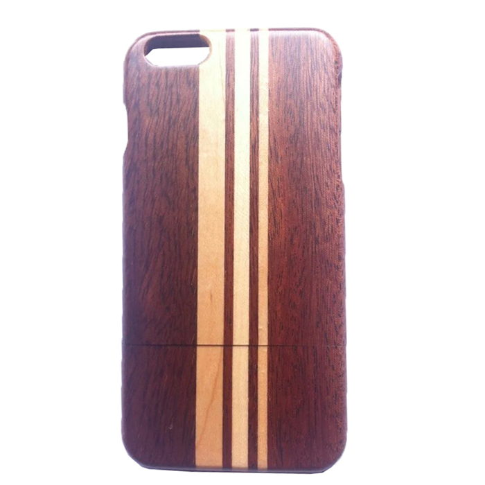 Sapele with Maple Pattern Detachable Wood Back Case for IPHONE 6 Plus - Brown аксессуар чехол stone age jungle collection wood skin для iphone 6 plus кожа brown w8582