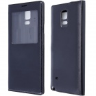 Flip-open PU Leather Case Cover w/ Visual Window for Samsung Galaxy Note 4 - Black