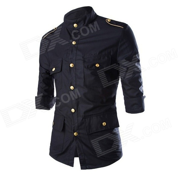 C04 Men's Fashionable Slim Three Quarter Sleeve Cotton Shirt - Black (L)