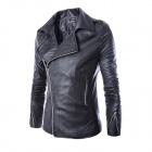 PY32 Men's European Style Oblique Zipper Slim PU Motorcycle Jacket - Black (L)