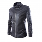 PY16 Men's Autumn / Winter Wear Slim Collar Classic PU Motorcycle Jacket - Black (XL)