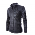 PY15 Men's Korean Style Fashionable Slim Collar Double Zipper PU Motorcycle Jacket - Black (L)