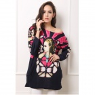 Patterned Stylish Long-sleeved Cashmere Loose Dress - Black + Deep Pink
