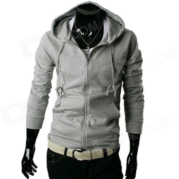 W10 Men's Fashionable Slim Hooded Zipper Sweater - Grey (L)