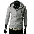 W10 Men's Fashionable Slim Hooded Zipper Sweater - Grey (XL)