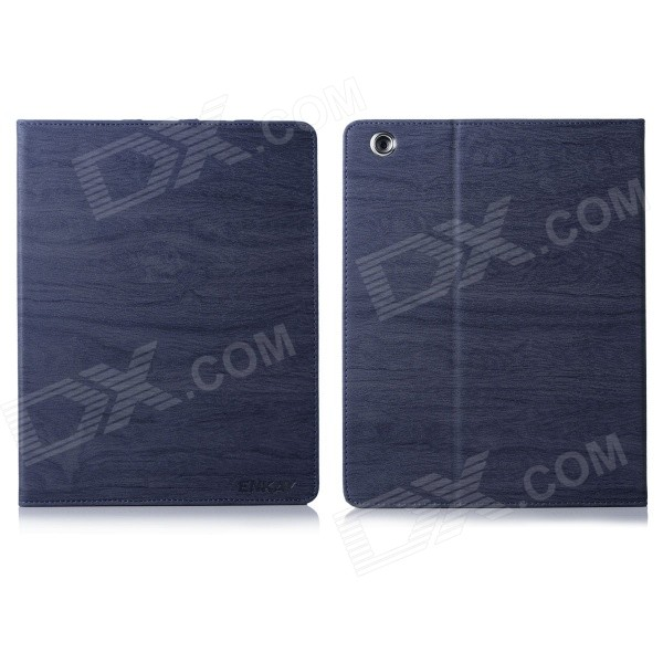 ENKAY Tree Skin Pattern PU Leather Case Cover Stand W/ Auto Sleep for iPad 2 / 3 / 4 - Dark Blue