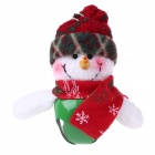 Snowman Doll Style Christmas Bells Decorations for Christmas Tree - Red + White + Green (6 PCS)