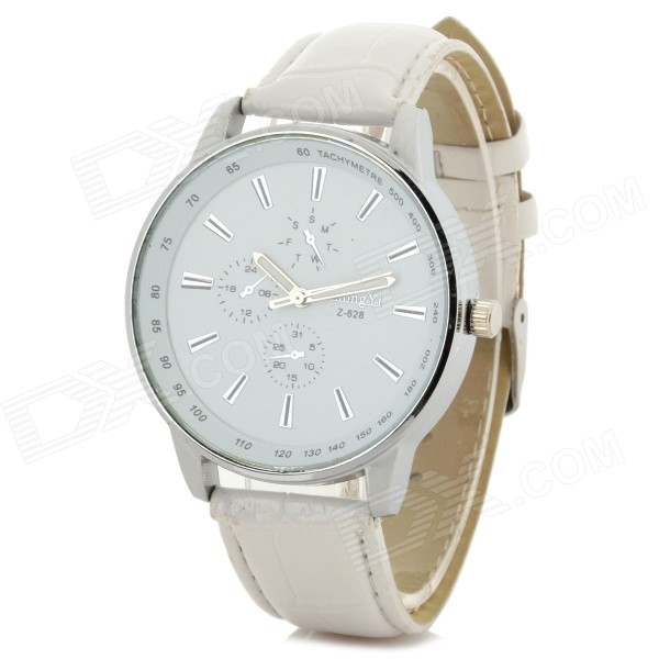 Zhongyi Men's Classic PU Band Analog Quartz Wristwatch - White + Silver (1 x 626)