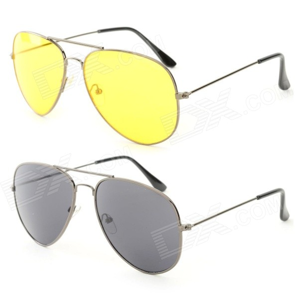 OULAIOU Fashion Zinc Alloy Frame Resin Lens UV400 Sunglasses Set - Black + Yellow (2 PCS)