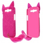 Fashion Plush Mink Style Protective PC Back Case w/ Tail for Samsung Galaxy S3 - Deep Pink