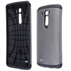 Grid Design Hybrid Slim Protective PC + Silicone Back Case with Anti-shock for LG G3 - Grey + Black