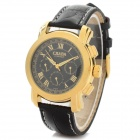 CJIABA Water Resistant Men's Stylish PU Band Analog Mechanical Wristwatch - Golden + Black