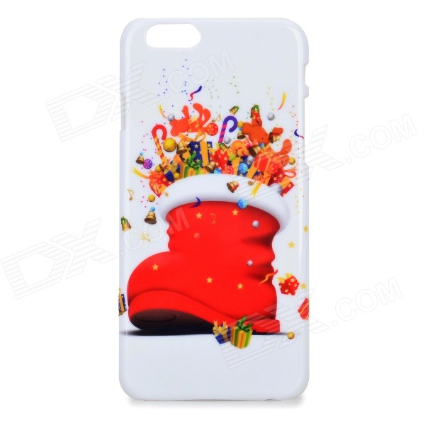 Christmas Santa Boot Patterned Protective Ultra Thin PC Back Case Cover for IPHONE 6 - White + Red santa claus
