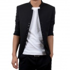 X990 Autumn and Winter Fashionable Chinese Style Retro Eight Buckle Stand Collar Jacket - Black (L)