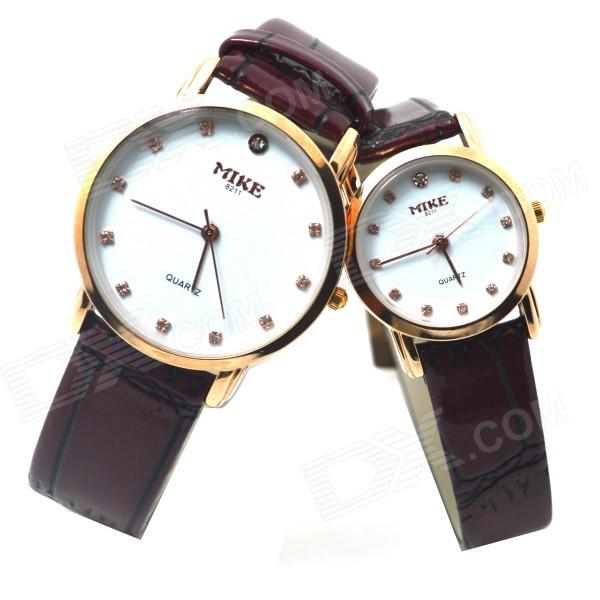 MIKE 8211 Couple's PU Leather Band Analog Quartz Wrist Watches - Brownish Red (2 PCS / 1 x 377)
