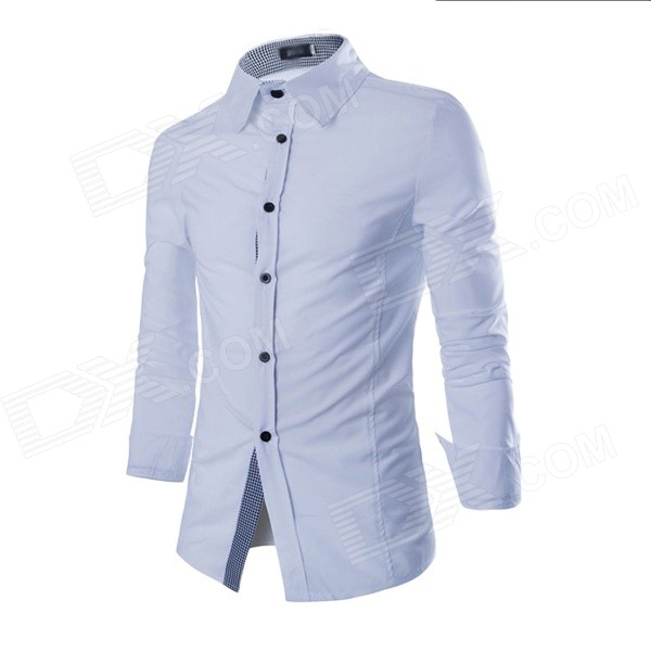 C52 Men's Fashionable Plaid Wild Wrinkles Cotton Shirt - White (L)