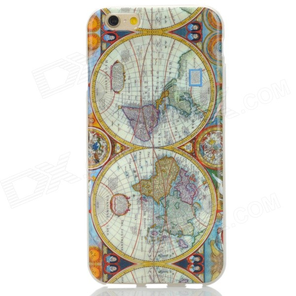 Retro Map of the Earth Pattern TPU Back Case for IPHONE 6 4.7 - White + Yellow children of the earth