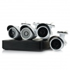 YanSe 4-CH H.264 DVR + 4 x 1/3 CMOS 900TVL Waterproof IR Cameras w/ 36-IR-LED - Black + White (NTSC)