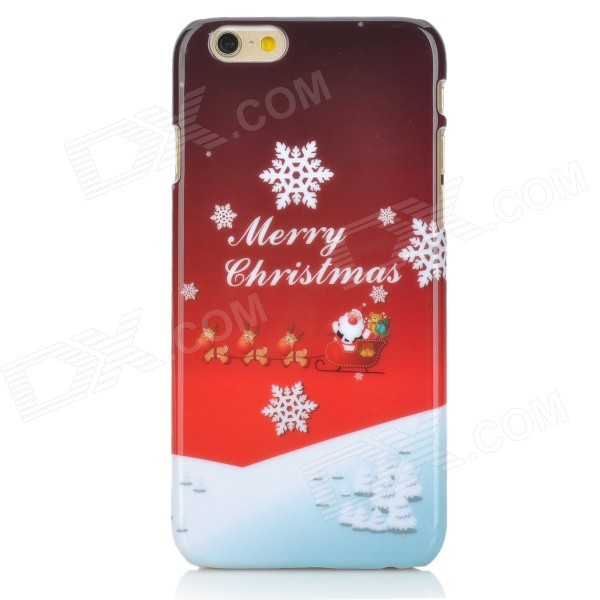 Christmas Themed Pattern PC Back Case for IPHONE 6 4.7 - Red + White kavaro swarovski rose gold plated pc hard case for iphone 6s 6 mandala pattern