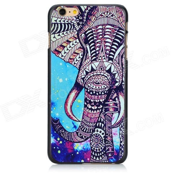 Painted Elephant Pattern Plastic Back Case for IPHONE 6 PLUS - Black + Blue