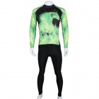 Paladinsport 292CT-L Horse Pattern Long-sleeve Jersey + Pants Set for Cycling - Black + Green (L)