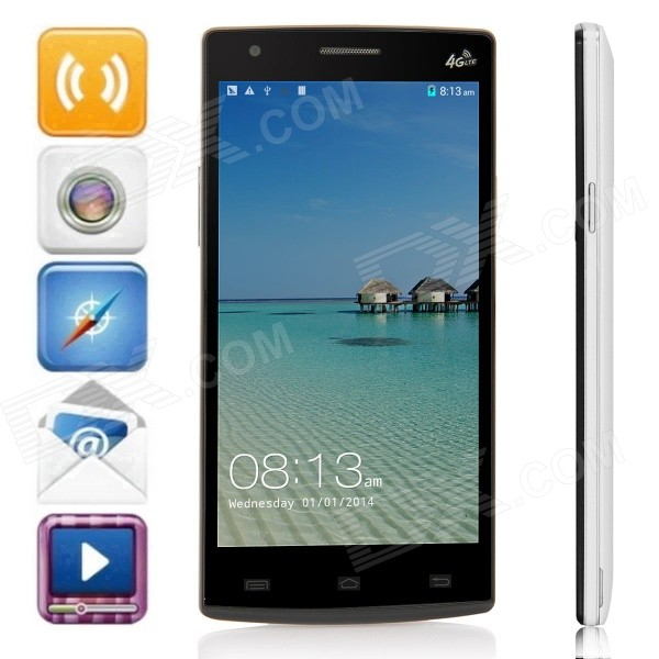 Mpie G7 MTK6582 Quad-Core Android 4.4.2 LTE Bar Phone w/ 5.0QHD, 8GB ROM, Wi-Fi, GPS - White +Black mpie t6s quad core android 4 4 2 wcdma bar phone w 5 5 hd 2gb ram 4gb rom wi fi gps black