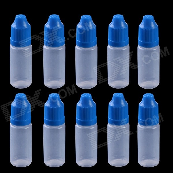AL01 Professional Empty Squeezable Liquid Oil Dropper Storage Bottles - Blue (10ML / 10 PCS)