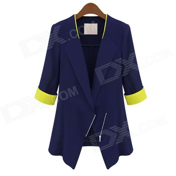 Women's Stylish Slim Three Quarter Sleeve Small Suit - Dark Blue (L)