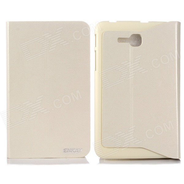 ENKAY ENK-7058 Protective PU + Plastic Case w/ Stand for Samsung Galaxy Tab 3 Lite T110 - Beige
