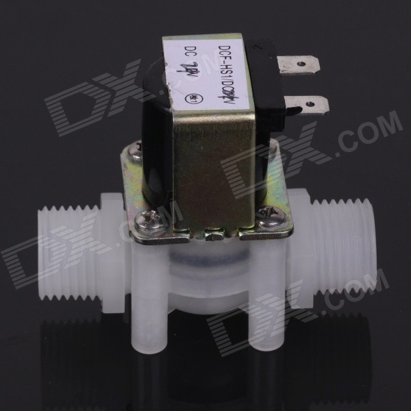 ZnDiy-BRY DC 12V 1/2 Plastic Inlet Feed Water Solenoid Valve N/C Normally Closed - White free shipping bspt 1 2 normally closed