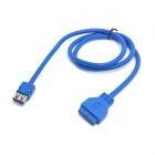 CY U3-172 Single Port USB 3.0 Female PCB Mount Panel Type to Motherboard 20-Pin Cable - Blue (60cm)