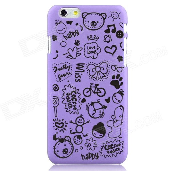 Hat-Prince Cartoon Print Protective Matte Non-slip Plastic Back Case for 5.5 iPhone 6 Plus - Purple iface mall glossy pc non slip tpu back case for iphone 6 plus 6s plus blue