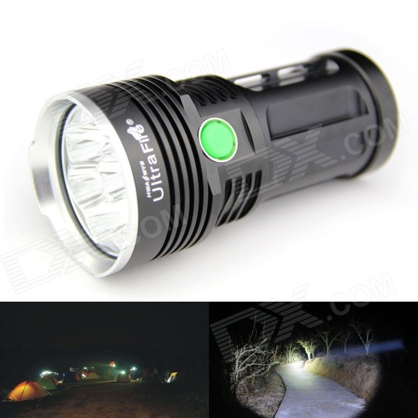 UltraFire 8XT6 8-LED 5000lm 5-Mode White Light Flashlight w/ Strap - Black (4 x 18650) ultrafire 8xt6 8 led 5000lm 5 mode white light flashlight w strap black 4 x 18650