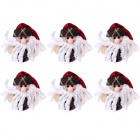 Santa Claus Doll Style Small Christmas Bells Decorations for Christmas Tree - Red + White (6 PCS)