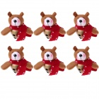 Bear Doll Style Big Christmas Bells Decorations for Christmas Tree - Light Brown + Red (6 PCS)