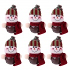 Snowman Doll Style Small Christmas Bells Decorations for Christmas Tree - Coffee + Red (6 PCS)