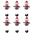 Christmas Grid Small Pendant Outseam Figurines - Khaki + Red + White (6 PCS)