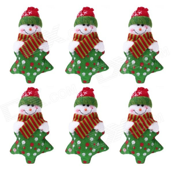 Christmas Snowman Stars Doll Decorating Christmas Tree - Red + Green + White (6 PCS)