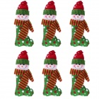 Christmas Snowman Sock Doll Decorating Christmas Tree - Red + Green + White (6 PCS)
