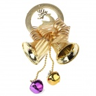 6mm Christmas Dual Bells Pendant Decoration - Pink + Gold