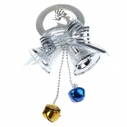 6mm Christmas Dual Bells Pendant Decoration - Silver + Blue + Gold