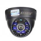 "Stjiatu ST-8600C Waterproof 1/4"" CMOS 700TVL Surveillance CCTV Dome Camera w/ 6-IR-LED - Black (PAL)"