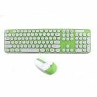 YDL-3960 2.4G Color Round Keycap Wireless Keyboard +1600DIP Mouse Set - Green + White