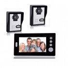 Buy KX7001-2V1 7 inch LCD Screen Wireless Video Door Phone 2 Night Vision Cameras + 1 Monitor - Black