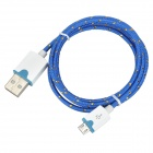 USB Male to Micro USB Male Data Charging Nylon Cable for Samsung / HTC - Blue + White (98cm)