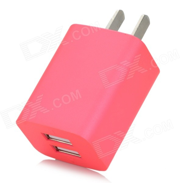 iznc znc-021 Universal Dual-USB AC Power Charger Adapter - Deep Pink (US Plug) iznc znc 021 universal dual usb ac power charger adapter for iphone ipad white us plug