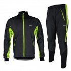 ARSUXEO AR14-A Men's Cycling Breathable Warm Long Jersey Top + Padded Pants Set - Black + Green (XL)