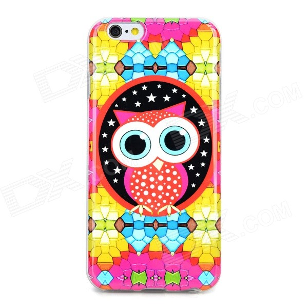 Diamond + Owl Pattern Protective TPU Back Case for IPHONE 6 - Multicolored transparent tpu material spindrift pattern and diamond design protective back cover case for iphone 6 plus 5 5 inches