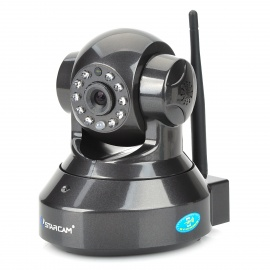 "VStarcam C7837WIP 1/4"" CMOS 1.0MP PNP Wireless IP Camera w/ 10-IR-LED / Wi-Fi / TF - Black (US Plugs)"
