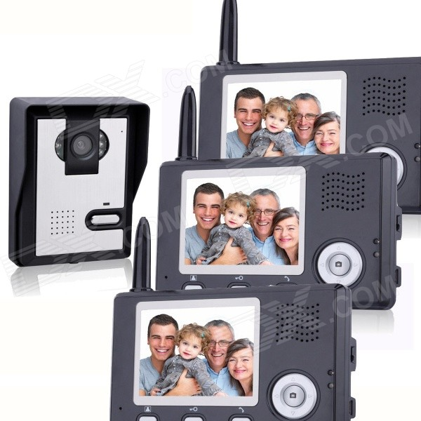KX3501-1V3 3.5 LCD Wireless Video Door Phone 1 Camera + 3 Monitors Set - Blackish Grey kx3501 1v3 3 5 lcd wireless video door phone 1 camera 3 monitors set blackish grey